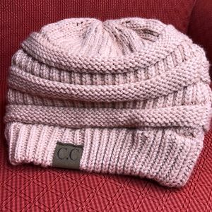 C.C. slouchy knit beanie- color blush OS